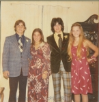 Steve Lilly, Beth Schroll, Mike Truitt, & Betsy Wilks at the Schroll's House Before Homecoming 1975